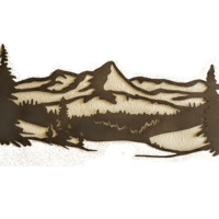 Mountain Scene with Pine Trees Metal Wall Sign