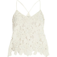 River Island Womens White lace beaded cami
