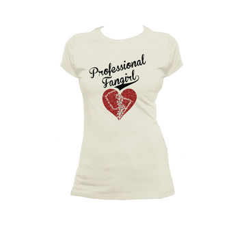 Professional Fangirl Stitched Heart Ladies / Juniors T Shirt, Fangirl Tee