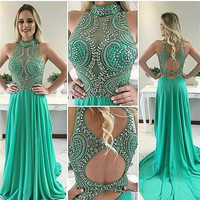 Real Photos robe de soiree Mint Green Hand Working Crystal Beaded Chiffon Mermaid Prom Dresses Hot Party Gowns Dresses Club Wear