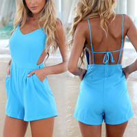 2014 New Sexy Women Celeb V-neck Backless Playsuit Summer Beach Jumpsuit Shorts