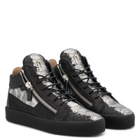 Giuseppe Zanotti Gz Kriss Metallic Black And Silver Python-embossed Sneaker With Side Zips - Best Deal Online