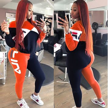 FILA Popular Women Casual Print Top Pants Trousers Set Two-Piece Sportswear orange