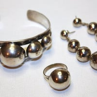 Vintage Sterling Silver Ball Cuff Bracelet Ring by patwatty