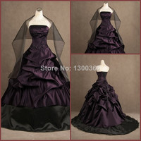Real Picture Ruffle Beading Ball Gown Strapless Floor Length Gothic Victorian Dress Lace Up Black Satin Prom Gown Alternative Measures - Brides & Bridesmaids - Wedding, Bridal, Prom, Formal Gown