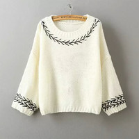 Embroidery Knitted Sleeve Loose Sweaters