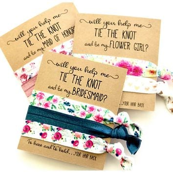 Bridesmaid Proposal Gift | Will you help me tie the knot | Elastic hair tie favor