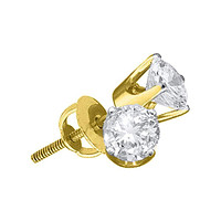 14kt Yellow Gold Unisex Round Diamond Solitaire Stud Earrings 1-12 Cttw - FREE Shipping (US/CAN)