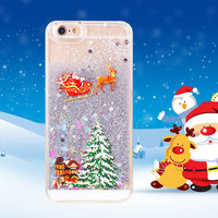 """Newest Gift Cute Christmas Trees Glitter Star Liquid Covers For iphone 6 Case 4.7"""" Transparent Clear Phone Cases For iphone6 i6"""