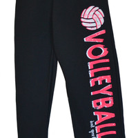 Volleyball Sweatpants in Black with Coral Pink Print