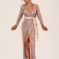 Joyfunear Split Surplice Sequin Belted Dress