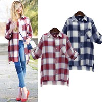 Fall Winter Fashion 2016 Plus Size Long Sleeve Checkered Shirt [9150486407]