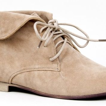 Breckelle's SANDY-51 Basic Lace Up Folded Cuff Desert Ankle Boot Bootie