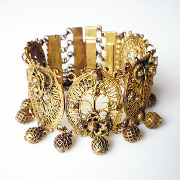 Indo Craft Etruscan Bracelet Rice Weiner Filigree Gold Tone Wide 1940s Vintage Jewelry