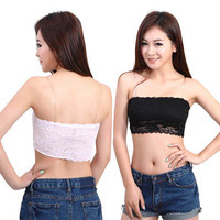 Hot Sweet Chic Women Lace Floral Stretch Strapless Bandeau Bra Boob Tube Top 4 Color size M/US8/UK10/EU38