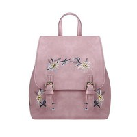 Women Fashion bag Buckle Flower Embroidery Detail Backpacks Bag