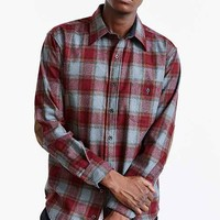 Pendleton Plaid Elbow Patch Button-Down Shirt- Maroon