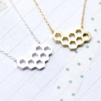 Beautiful Honeycomb necklace -honey necklace - geometric jewelry - gift idea - smart necklace - fashion necklace - unique necklace