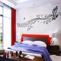 BUTTERFLY & MUSIC NOTES VINYL WALL STICKER ART HOME ROOM DECOR DECAL REMONABLE (Black):Amazon:Home & Kitchen