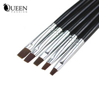 5pcs set Acrylic UV Gel French Nail Art Design Kit Liner Painting Dotting Flat Brushes Pen Builder Nail Tools