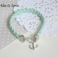 Mint Green Leather Braided Nautical Sailor Bracelet with Silver Anchor Charm