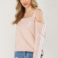 Adidas Off Shoulder Crewneck in Dust Pearl