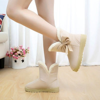 Womens Ankle Boots Suede Winter Warm Thicken Shoes Snow Boots = 1946770820