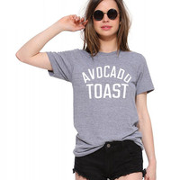 Grey Avocado Toast Print Short Sleeve Graphic Tee