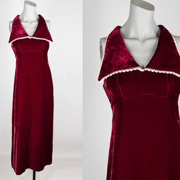 Vintage 70s Dress / 1970s Gothic Blood Red Velvet Empire Maxi Dress XS S