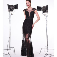 Black Embroidered Cap Sleeve Sheer Gown 2015 Prom Dresses