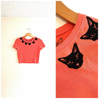 pink and black cat head collar crop top, orange red, hipster shirts, crazy cat lady, teen girl apparel, collared shirts, gift for cat lover