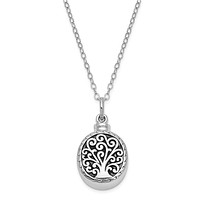 Rhodium Plated Sterling Silver Tree of Life Ash Holder Necklace, 18 In