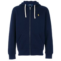 Polo Ralph Lauren Stylish Women Men Leisure Logo Embroidery Zipper Hoodie Pullover Top Sweater Coat I-KWKWM