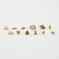 Full Tilt 6 Pairs Mix & Match Hamsa/Triangle Earrings Antique Gold One Size For Women 25812262301