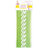 24 Biodegradable Green and White Polka Dot and Chevron Paper Straws (for Food Crafts, Birthdays, ETC) - Swirly Whirly