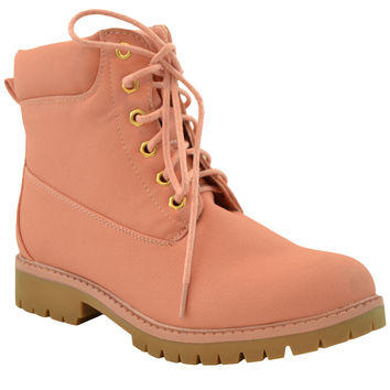 Womens Ankle Boots Lace Up Lug Sole Booties Hiking Shoes Pink