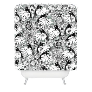 Sharon Turner Hummingbird Heaven Silver Shower Curtain
