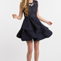 Lucia Navy Crochet Layered Fit and Flare Dress