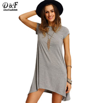 Dotfashion Women Tee Dresses Summer Style Asymmetric Hem Casual Short Dresses Round Neck Ladies Grey T-shirt Dress