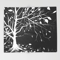 Snow Tree Throw Blanket by ES Creative Designs