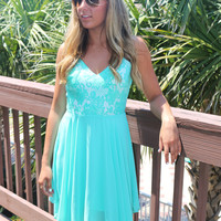 Open Waters Mint Lace Sequin Hi Low Dress