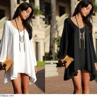 Aliexpress.com : Buy New Autumn roupas femininas Women Plus Size Casual Dress Short White Black V neck Vestido Cut Out Long Sleeve M L XL LC21647 from Reliable Dresses suppliers on KARA FASHION FACTORY