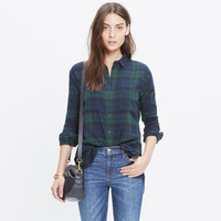 Flannel Oversized Boyshirt in Dark Plaid