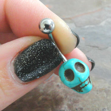 Turquoise Skull Belly Button Ring