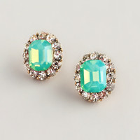Mint Crystals Stud Earrings