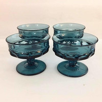Blue Thumbprint Champagne Coupes, Set of 3 Sherbet Glasses, Kings Crown Imperial Blue