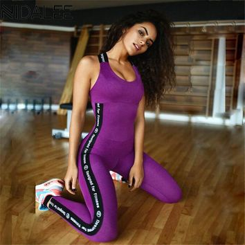 Letter Printed Padded Sports Jumpsuits
