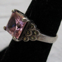 Vintage PINK ICE  RING with Marcasites  1940s