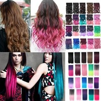 """20% OFF 18""""24"""" Colorful Fading Color Curly Wavy 3/4 Full Head Clip in Hair Extensions One Piece 5 Clips Multi color -in Clip in Hair Extensions from Health & Beauty on Aliexpress.com   Alibaba Group"""