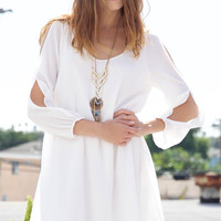 Split Sleeve Shift Dress - White